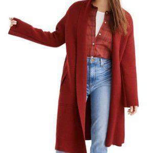 Madewell Rivington Sweater Coat Heather Burgundy